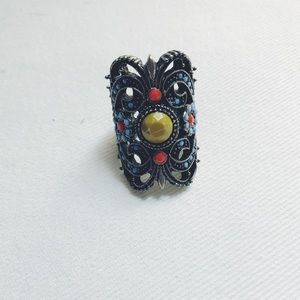 Silver embellished statement ring. Brand New